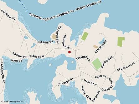Map indicating the location of Port Aux Basques Service Canada Centre at 64 Main Street in Channel-Port aux Basques