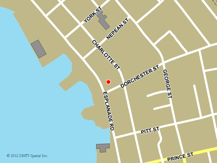 Map indicating the location of Sydney Service Canada Centre at 15 Dorchester Street in Sydney