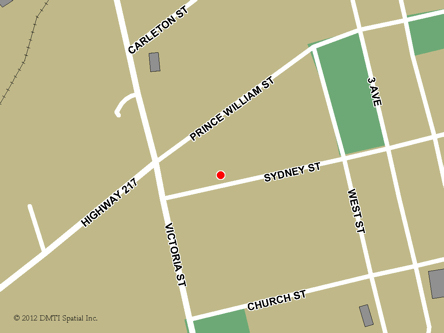Map indicating the location of Digby Service Canada Centre at 98 Sydney Street in Digby