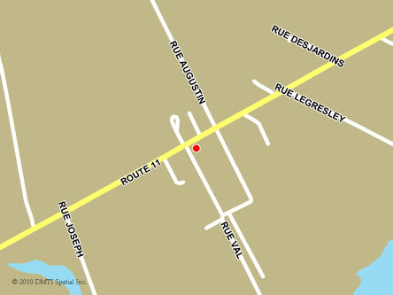 Map indicating the location of Neguac Scheduled Outreach Site at 430 Principale Street in Neguac