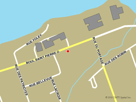 Map indicating the location of Caraquet Service Canada Centre at 20E St Pierre Boulevard West in Caraquet