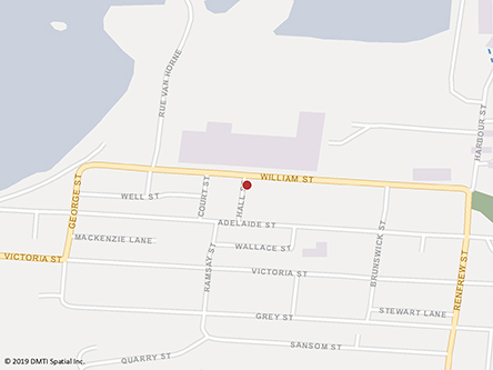 Map indicating the location of Dalhousie Service Canada Centre at 110 Plaza Boulevard in Dalhousie