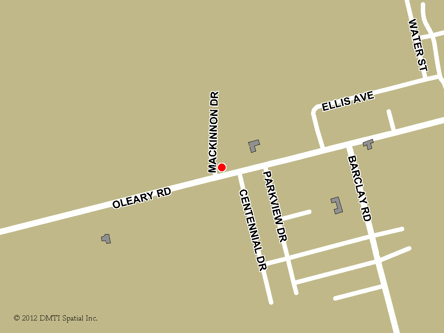 Map indicating the location of O'Leary Service Canada Centre at 371 Main Street in O'Leary