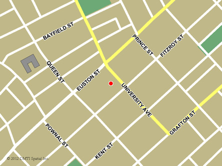 Map indicating the location of Charlottetown Service Canada Centre at 191 Great George Street in Charlottetown