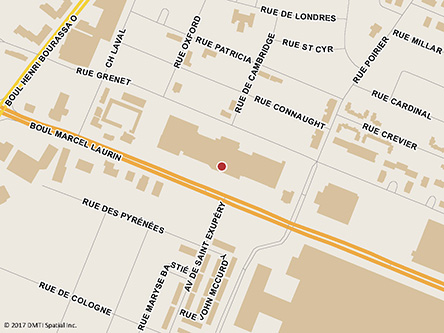 Map indicating the location of Saint-Laurent Service Canada Centre - Passport Services at 2089 Marcel-Laurin Boulevard, Suite 100 in Saint-Laurent