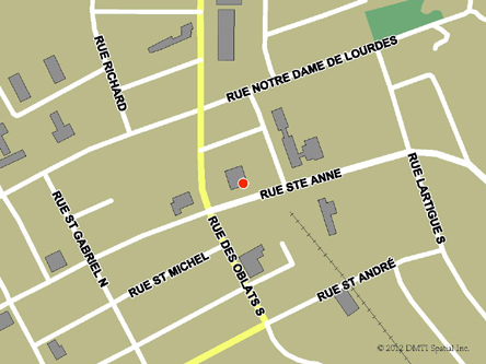 Map indicating the location of Ville-Marie Service Canada Centre at 69B Sainte-Anne Street in Ville-Marie