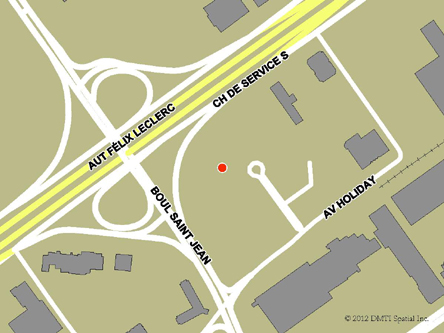 Map indicating the location of Pointe-Claire (Montréal) Service Canada Centre at 6500 Trans-Canada Highway in Pointe-Claire
