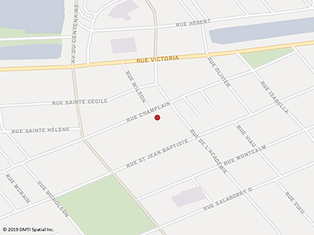 Map indicating the location of Valleyfield Service Canada Centre at 63 Champlain Street in Salaberry-de-Valleyfield