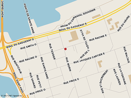 Map indicating the location of Chicoutimi Service Canada Centre and Passport Services at 98 Racine Street East in Chicoutimi