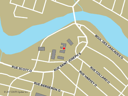 Map indicating the location of Alma Service Canada Centre at 100 Saint-Joseph Street South in Alma