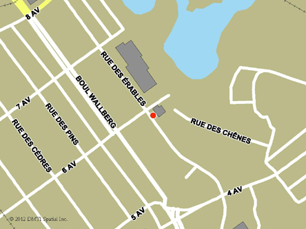 Map indicating the location of Dolbeau Service Canada Centre at 1400 Des Érables Street  in Dolbeau-Mistassini