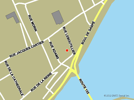 Map indicating the location of Gaspé Service Canada Centre at 98 de la Reine Street in Gaspé