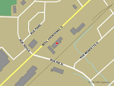 Map indicating the location of Thetford Mines Service Canada Centre  at 350 Frontenac Boulevard West in Thetford Mines