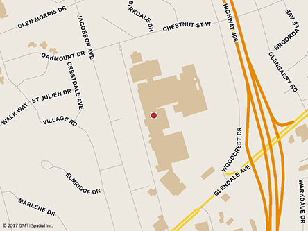 Map indicating the location of St.Catharines Service Canada Centre - Passport Services at 221 Glendale Avenue, Suite 604 in St. Catharines