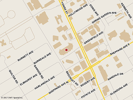 Map indicating the location of North York Service Canada Centre - Passport Services at 4900 Yonge Street, 3rd Floor, Suite 380 in North York