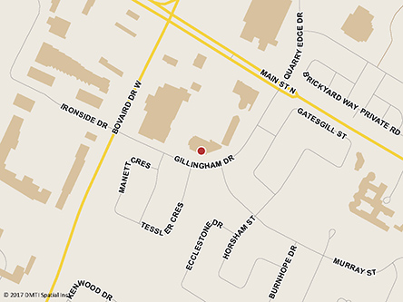 Map indicating the location of Brampton Passport Office - Passport services only at 40 Gillingham Drive, Suite 401 in Brampton