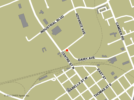 Map indicating the location of Napanee Service Canada Centre at 2 Dairy Avenue in Napanee