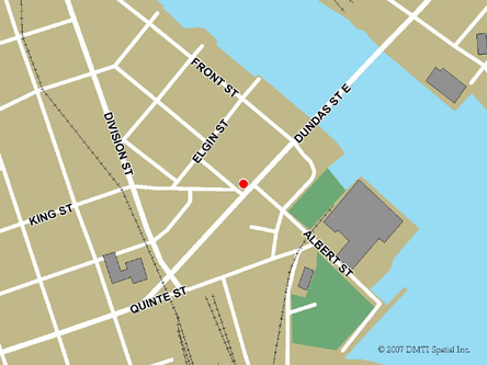 Map indicating the location of Trenton Service Canada Centre at 50 Dundas Street West in Trenton