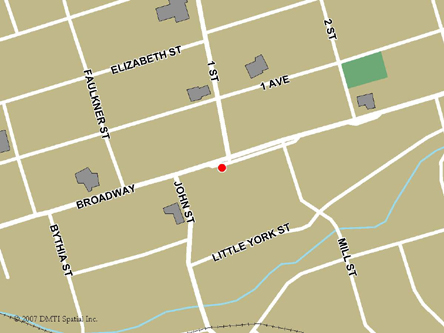Map indicating the location of Orangeville Service Canada Centre at 210 Broadway Avenue in Orangeville