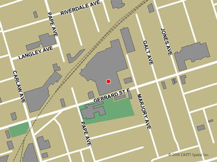 Map indicating the location of Toronto - Gerrard Square Service Canada Centre at 1000 Gerrard Street East in Toronto