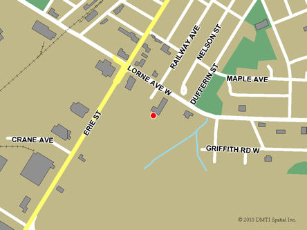 Map indicating the location of Stratford Service Canada Centre at 61 Lorne Avenue in Stratford
