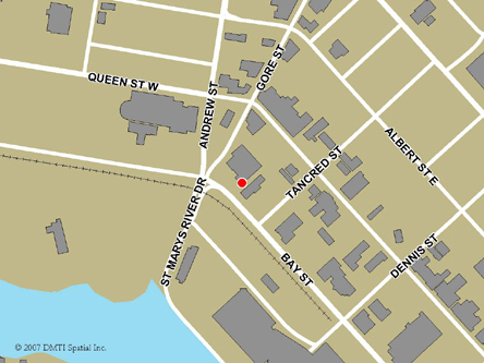 Map indicating the location of Sault Ste. Marie Service Canada Centre at 22 Bay Street in Sault Ste. Marie