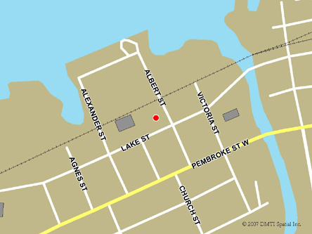 Map indicating the location of Pembroke Service Canada Centre at 141 Lake Street in Pembroke