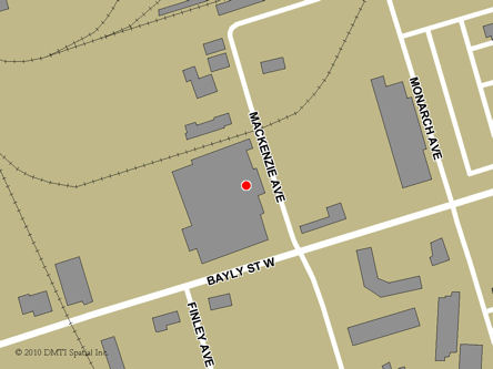 Map indicating the location of Ajax Service Canada Centre at 274 Mackenzie Avenue in Ajax