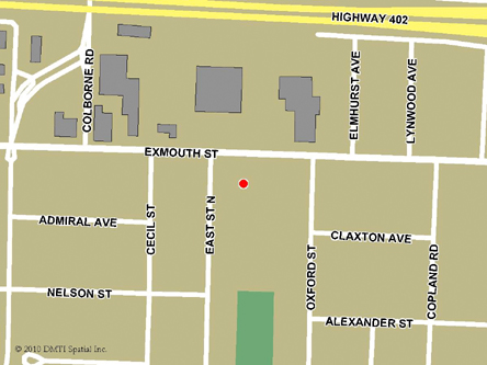 Map indicating the location of Sarnia Service Canada Centre at 529 Exmouth Street in Sarnia