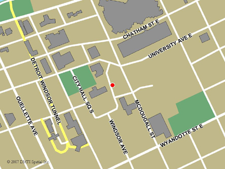 Map indicating the location of Windsor Service Canada Centre at 400 City Hall Square East in Windsor