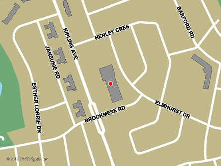 Map indicating the location of Toronto - West Humber Service Canada Centre at 2291 Kipling Avenue in Toronto
