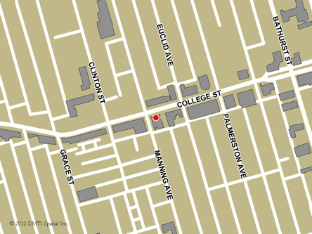 Map indicating the location of Toronto - College Street Service Canada Centre at 559 College Street in Toronto