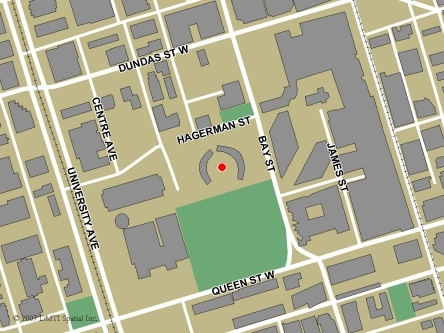 Map indicating the location of Toronto - City Hall Service Canada Centre at 100 Queen Street West in Toronto