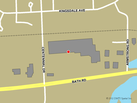 Map indicating the location of Kingston Service Canada Centre at 1300 Bath Road in Kingston