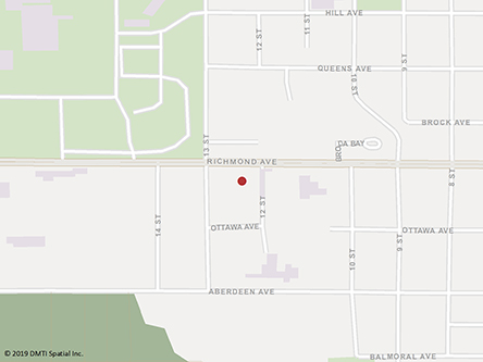 Map indicating the location of Brandon Service Canada Centre at 1039 Princess Avenue in Brandon
