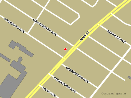 Map indicating the location of Selkirk Service Canada Centre at 51 Main  Street in Selkirk