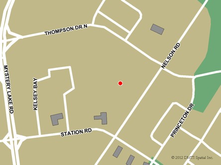 Map indicating the location of Thompson Service Canada Centre at 40B Moak Crescent in Thompson