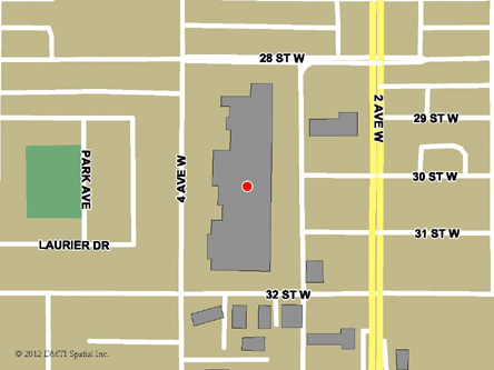 Map indicating the location of Prince Albert Service Canada Centre at 2995 - 2nd Avenue West in Prince Albert