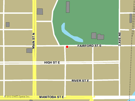 Map indicating the location of Moose Jaw Service Canada Centre at 111 Fairford Street East in Moose Jaw