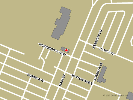 Map indicating the location of Melfort Service Canada Centre at 104 McKendry Avenue West in Melfort