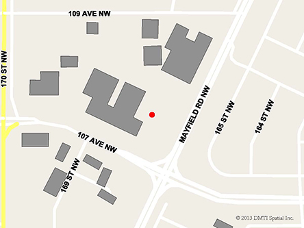 Map indicating the location of Edmonton Westlink Service Canada Centre at 16826 107th Avenue in Edmonton