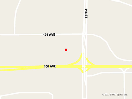 Map indicating the location of Grande Prairie Service Canada Centre at 11601 101st Avenue in Grande Prairie
