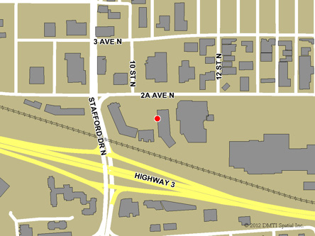 Map indicating the location of Lethbridge Service Canada Centre at 920  2A Avenue North in Lethbridge
