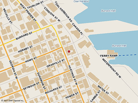 Map indicating the location of Vancouver Passport Office - Passport services only at 757 Hastings Street West, Suite 100 in Vancouver