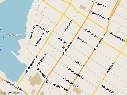 Map indicating the location of Victoria Service Canada Centre and Passport Services at 1150 Douglas Street, 4th Floor, Suite 450 in Victoria