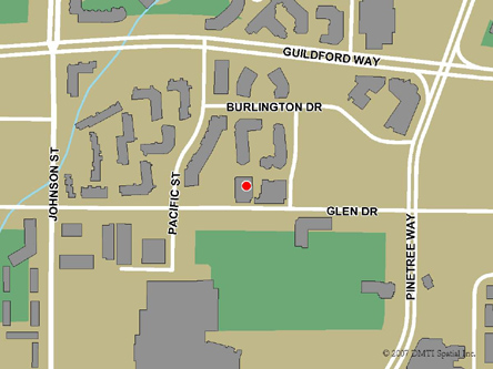 Map indicating the location of Coquitlam Service Canada Centre at 2963 Glen Drive  in Coquitlam