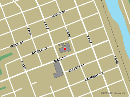 Map indicating the location of Whitehorse Service Canada Centre at 300 Main Street in Whitehorse
