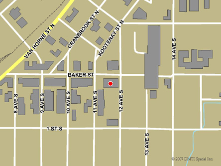 Map indicating the location of Cranbrook Service Canada Centre at 1113 Baker Street in Cranbrook