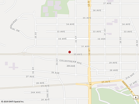 Map indicating the location of Vernon Service Canada Centre at 3301 30th Avenue in Vernon