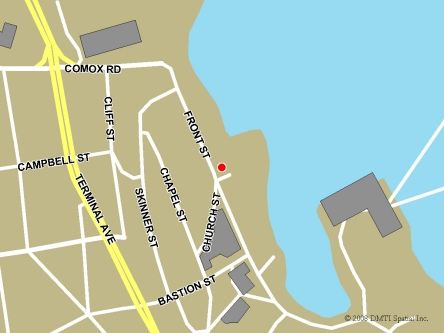 Map indicating the location of Nanaimo Service Canada Centre at 60 Front Street in Nanaimo